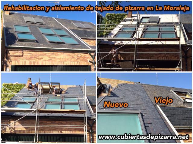 tejado de pizarra en la Moraleja con doble rastelado aislamiento termikco y lamina impermeabilizante