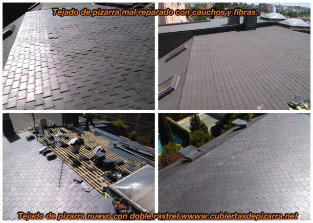 rehabilitación de tejados de pizarra hundidos en Madrid