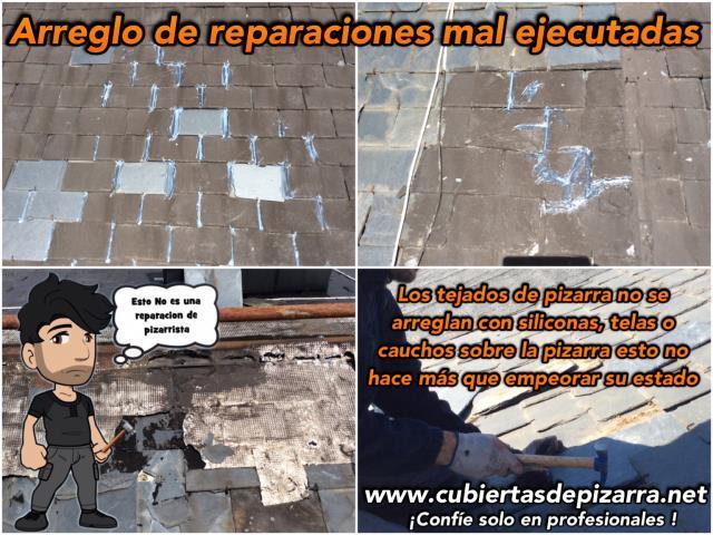 reparaciones mal ejecutadas en tejados de pizarra
