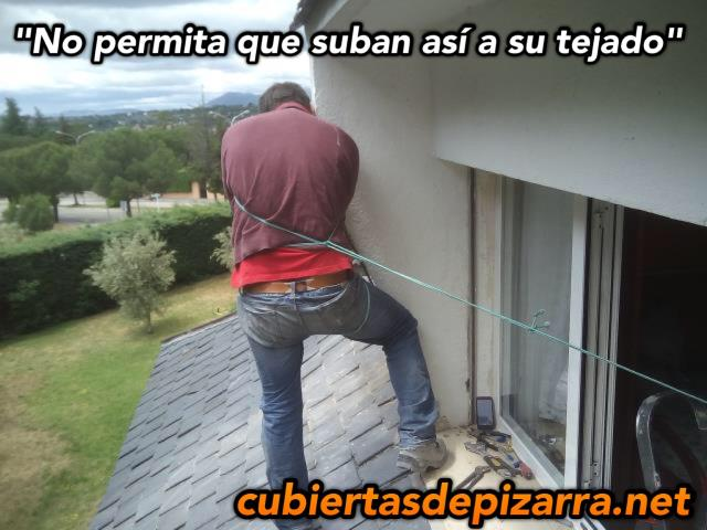 como no subir a un tejado de pizarra