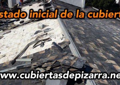 desmantelamieto de pizara en el tejado